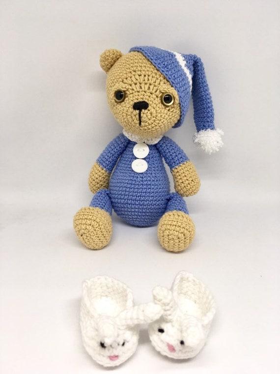 Amigurumi sleeping teddy bear plush bear crocheted handmade bear in pajamas birthday gift for kids soft animal toy knitted stuffed toy