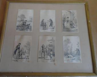 6 pencil drawings signed JULES Hébert 1812 1897 19th framed artist Switzerland drawings