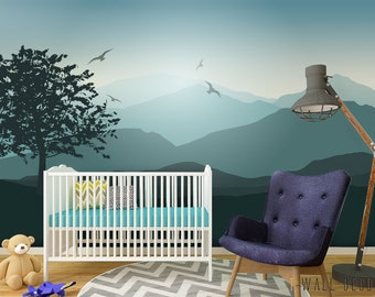mountain mural etsyself adhesive mountain wall mural, peel \u0026 stick nursery wallpaper, grey blue pastel removable wall art poster, tree pattern