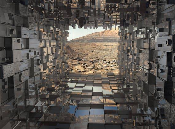 Futuristic Wallpaper 3D Mural Room Art WALL DECOR Sci-fi 3D Graphic Path to  Mars POSTER