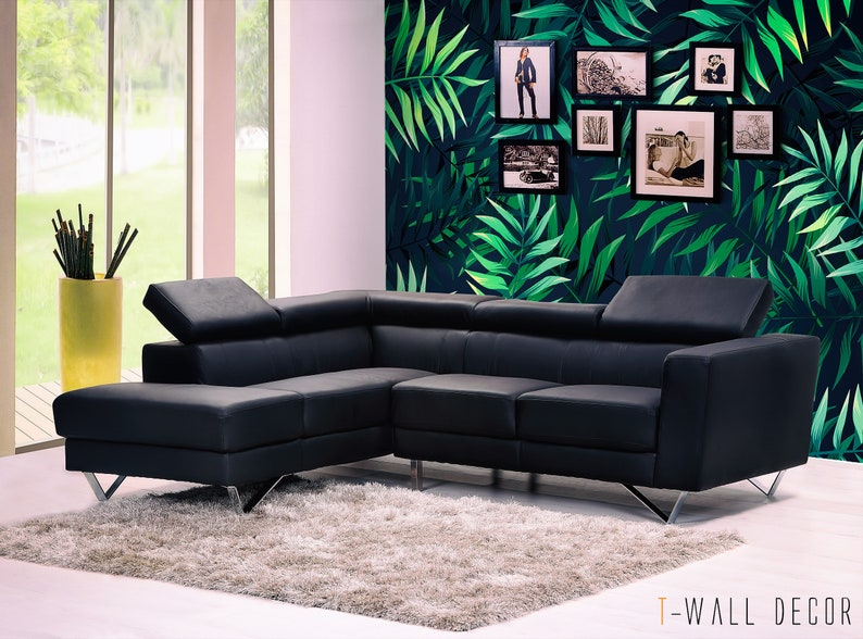 Tropical Leaves Wall Mural Self-Adhesive Green Tree pattern Big Leaves Removable Wall Art Poster Peel /& Stick Wallpaper