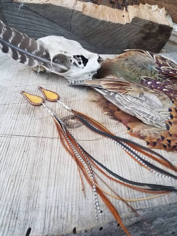Elk hide, leather, brain tanned, extra long feathers, silver, handmade, unique, burning man, natural, gift