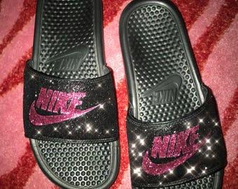 Glitter nike slides  0b8b10412