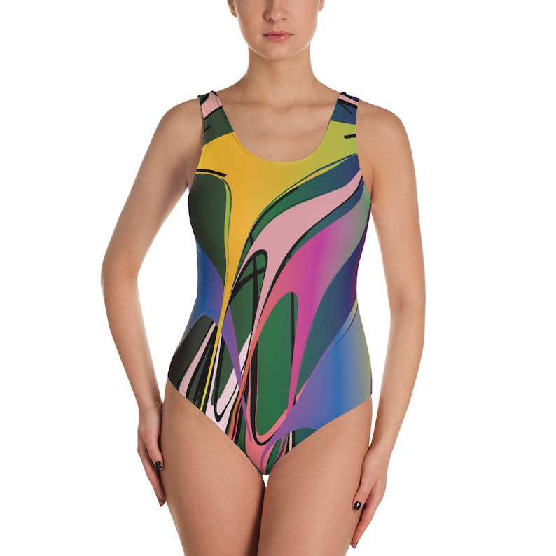 d1ebe5ae5c Donatello Funky Graffiti Modern One-Piece Swimsuit | Etsy