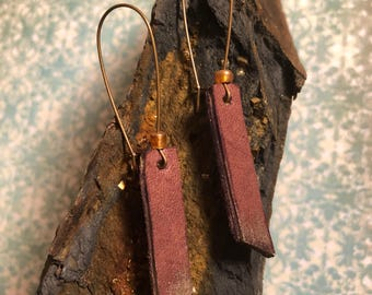 Gold Tipped Leather Earrings