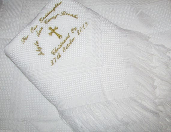 Personalised Baby Christening//Baptism Shawl Blanket Naming Day Embroidered Gift