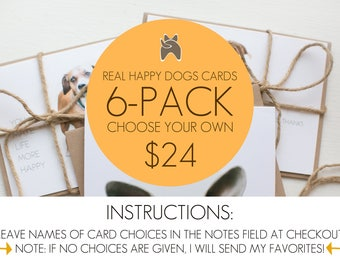 6-pack mix and match dog greeting cards