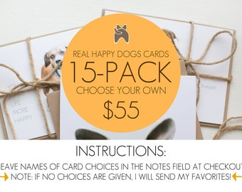 15-pack mix and match dog greeting cards