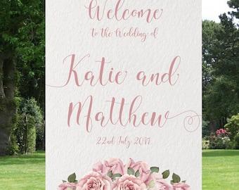 Vintage Rose Ivory, wedding welcome sign