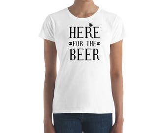Here For The Beer Women t-shirt-St. Patricks Day Shirt-St. Pattys Day-Holiday Shirts-Drinking T shirt-Irish Tee-Gold Digger-Womens Graphic T