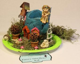 Fairy Miniature Garden Kit-Fairy Garden Accessories-Fairyland-Faerie-Terrarium Kit- Whimsical-Woodland-Wee folk friends-Gnomes