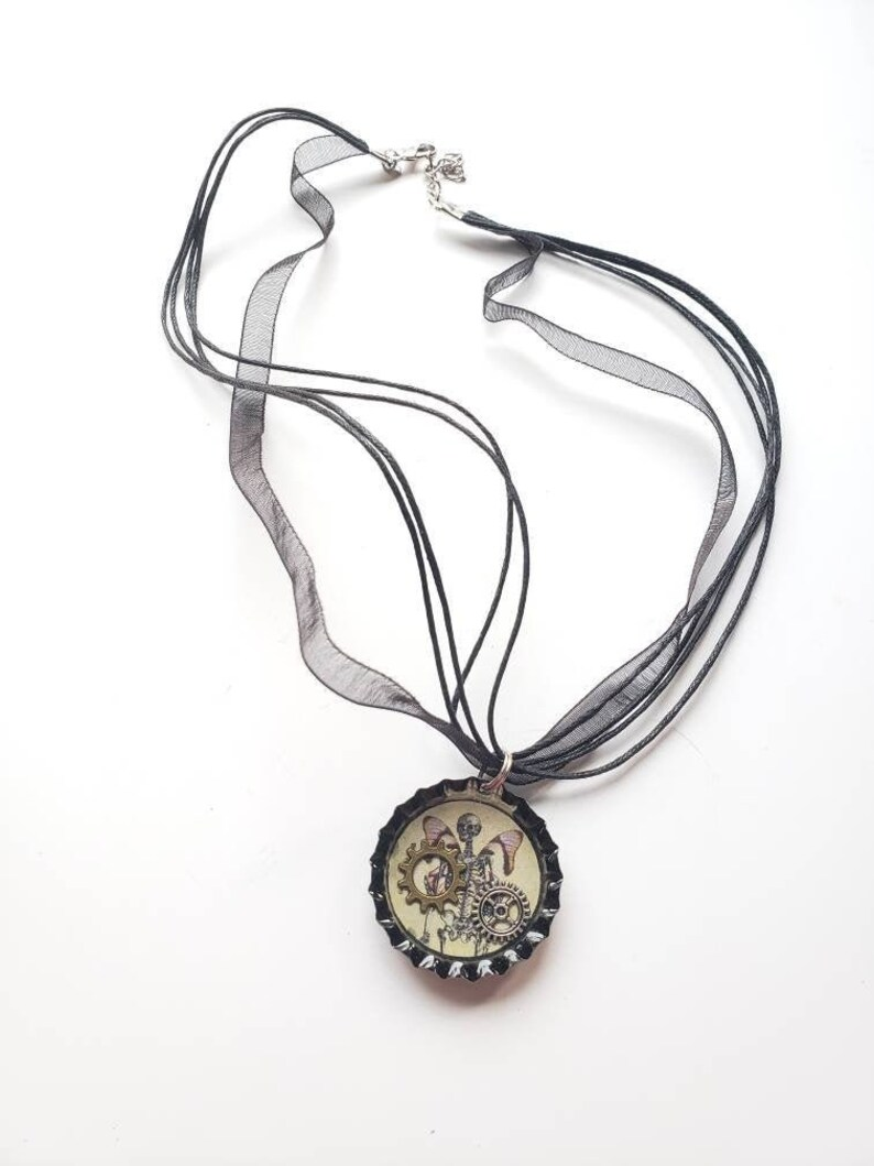 gift for girlfriend gift for her skull with wings Bottle Cap Necklace gears steampunk black bottle cap resin necklace skull necklace