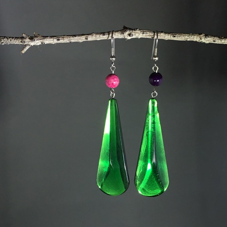 d5cc513ac818f Emerald green earring, Deep green drop earring, Vintage dangle earring,  Unique handmade earring, Dark green jewel tone, Pink and Purple bead