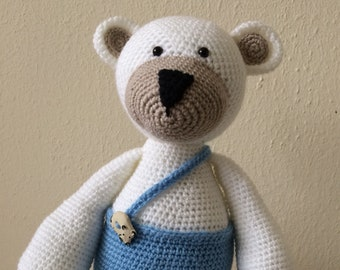 Gustave white Teddy bear crochet bear
