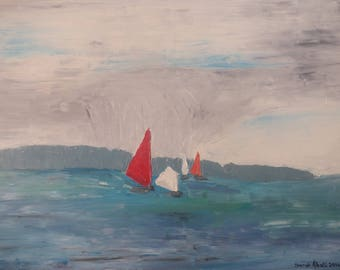 Dinghies - Original oil painting, contemporary, Navy, canvas on frame by Sarah Abati