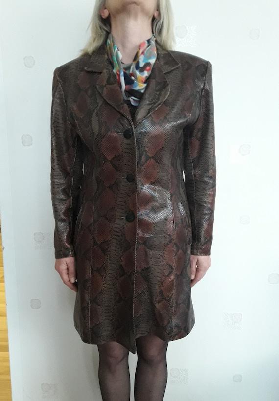 Vintage women clothing -snakeskin leather top coat