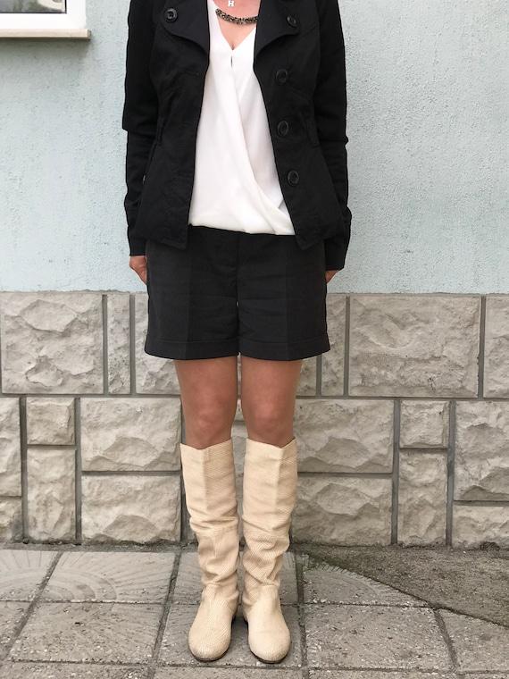 Vintage Italian light beige boots - genuine women