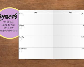 Weekly Planner, PDF file, Travelers notebook printable inserts, B6 size