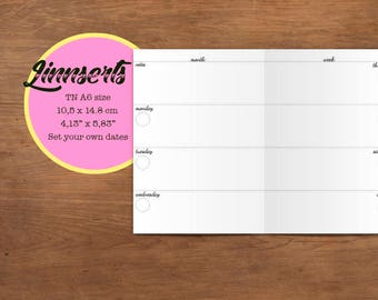 Weekly Planner, PDF file, Travelers notebook printable inserts, A6 size