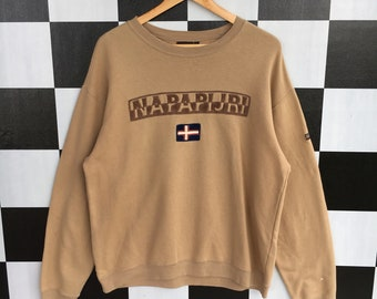 79438b0f66 Vintage 90s Napapijri Big Logo Embroidery Sweatshirt Jumper Pullover  Napapijri Sweatshirt L Size Rare Item