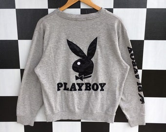 fc4200aed70 Vintage 90s Playboy Big Logo Embroidery Sweatshirt Jumper Pullover Playboy  Sweatshirt Silver Colour L Fit M Size Rare Item
