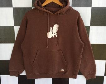 8e7b24793aa09 Vintage 90s Stussy Los Angeles Hoodie Sweater Pullover Stussy LA Hoodie  Brown Colour M Size Rare Item