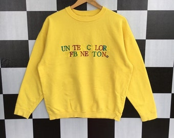 5bde9f561 Vintage 90s United Colors Of Benetton Spell Out Embroidery Sweatshirt  Jumper Pullover Benetton Sweatshirt Yellow Colour M Size Rare Item