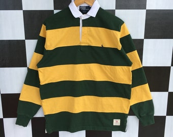 b4092f2756f Vintage 90s Polo Ralph Lauren Rugby Shirt Long Sleeve Stripe Yellow And  Green Colour M Fit L Size Rare Item