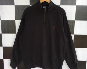 6029f0d446e3 Vintage 90s Polo Ralph Lauren Quarter Zip Sweatshirt Jumper Pullover Black  Colour XL Size Rare Item
