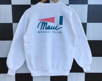 Vintage 90s Crazy Shirt Maui Hawaii Sweatshirt Jumper Pullover White Colour  M Size Rare Item 571fd065a77a