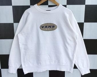 0cadee85a2 Vintage 90s Vans Usa Sweatshirt Jumper Pullover Skateboarding Sweatshirt  White Colour L Size Rare Item
