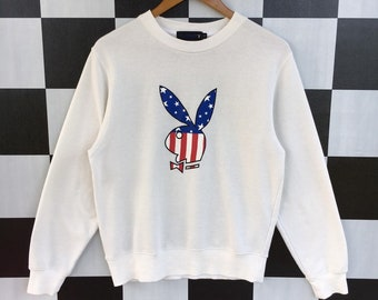df3215f6d75 Vintage 90s Playboy Big Logo America Flag Sweatshirt Jumper Pullover White  Colour Printed Fit M Size Rare Item