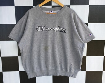 48add0d29c0b Vintage 90s Champion Usa Spell Out Embroidery Short Sleeve Sweatshirt  Silver Colour 3L Size Rare Item