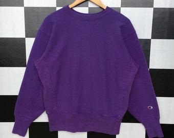 4a97131805c4 Vintage Champion Reverse Weave Sweatshirt Jumper Pullover Purple Color 90s  L Size Rare Item
