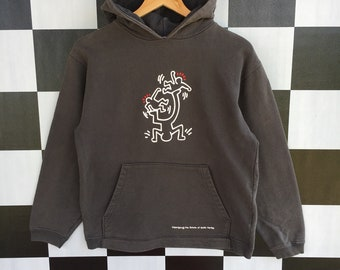 bbb1a1275ad8 Vintage 90s Keith Haring Big Logo Hoodie Sweater Pullover Keith Haring  Sweater M Fit S Size Rare Item