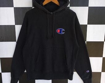 2c76fec1f1cb Vintage 90s Champion Reverse Weave Big Logo Embroidery Hoodie Pullover  Champion Hoodie Dark Blue Colour M Fits L Size Rare Item