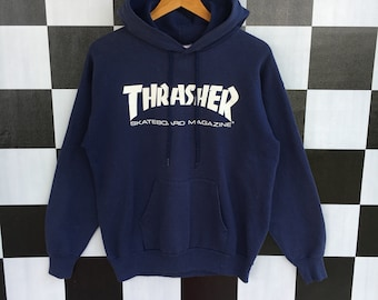 d2ad0f54ee30 Vintage 90s Thrasher Spellout Hoodie Sweater Pullover Thrasher Hoodie  Thrasher Skateboarding M Size Rare Item