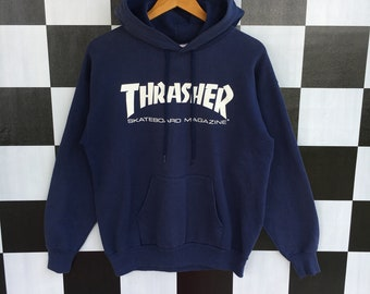 c73a722fc520 Vintage 90s Thrasher Spellout Hoodie Sweater Pullover Thrasher Hoodie  Thrasher Skateboarding M Size Rare Item