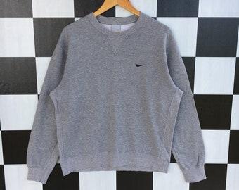 6fdb4ad1 Nike Small Swoosh Embroidery Sweatshirt Jumper Pullover Nike Sweatshirt  Grey Colour L Size Rare Item