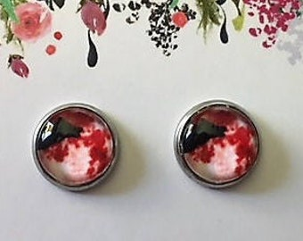 Red Moon Rising 10mm Stud Earrings