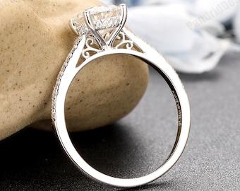 Vintage Hidden Halo Moissanite Ladies Ring, Anniversary Ring Gift,1.25CT Round 7mm Moissanite Wedding Ring,Simulated Diamond Engagement Ring