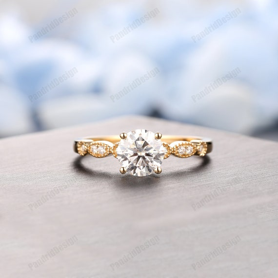 Round Simulated Diamond Ring Art Deco Ring Rose Gold Wedding Ring Women/'d Wedding Ring Promise Ring for Her Vintage Ring