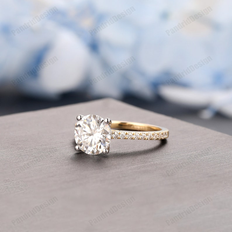 Double Tone Gold Moissanite Engagement Ring Vintage Half Eternity Moissanite Wedding Ring 1.25CT Round 7mm Simulated Diamond Promise Ring