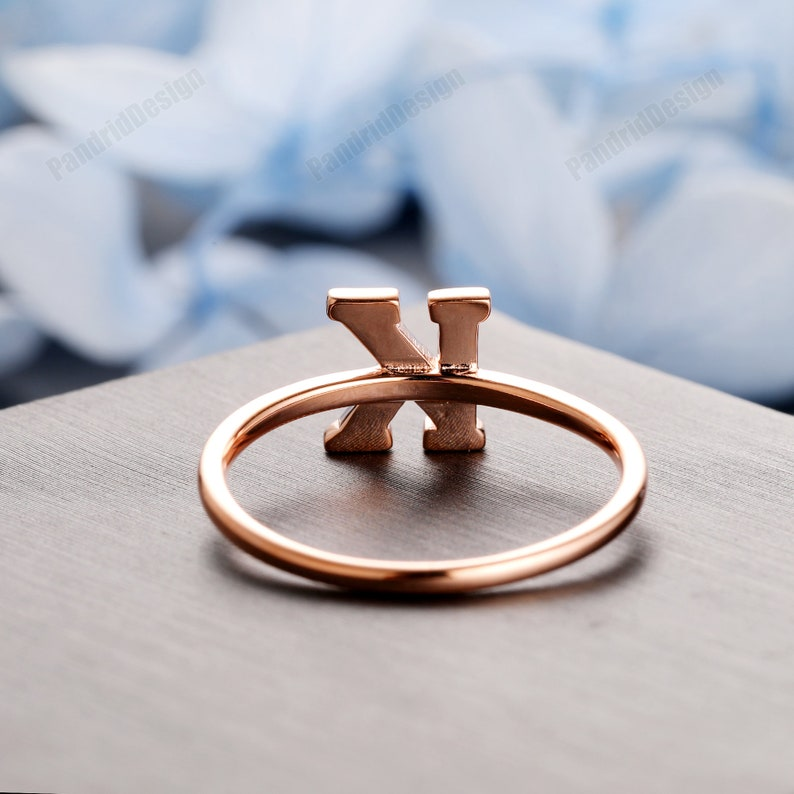 A-Z Initial Ring 14k Yellow Anniversary Initial Ring 18k Solid Gold Initial Ring White Plain Gold Letter Ring Minimalist Initial Ring