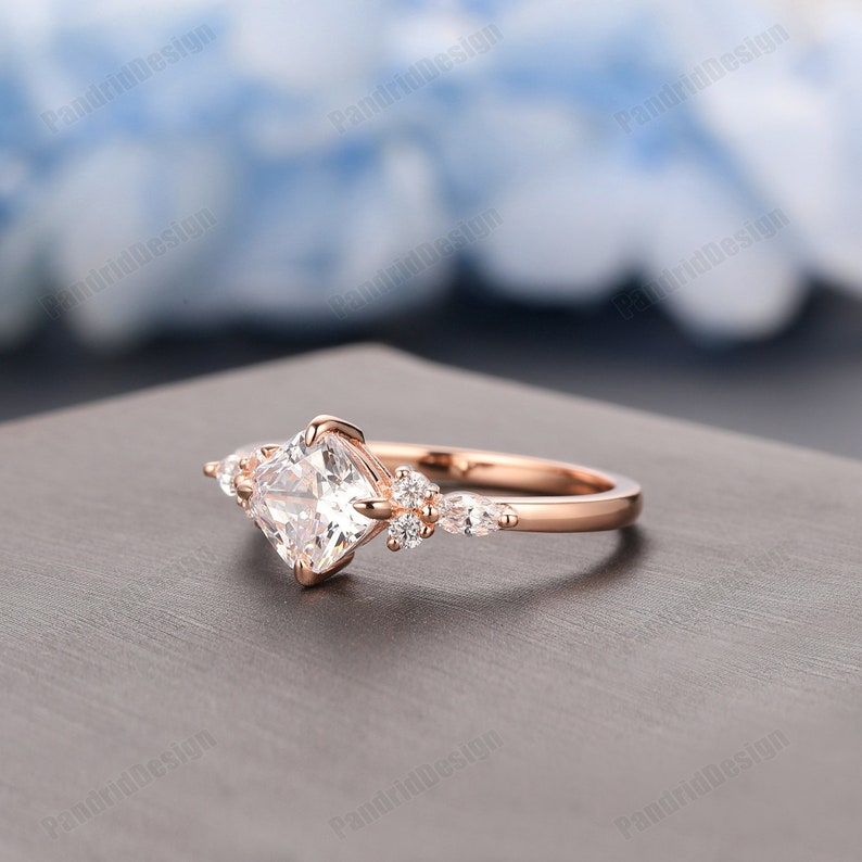 Promise Ring 1.1CT Cushion Cut 6mm Moissanite Anniversary Ring 14k Solid Gold Simulated Diamond Wedding Ring Cushion Cut Moissanite Ring