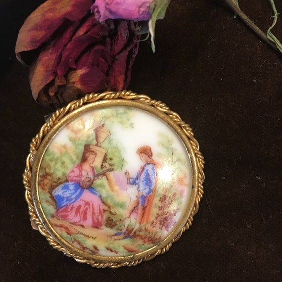 Antique Limoges Brooch  Courting Couple Romantic