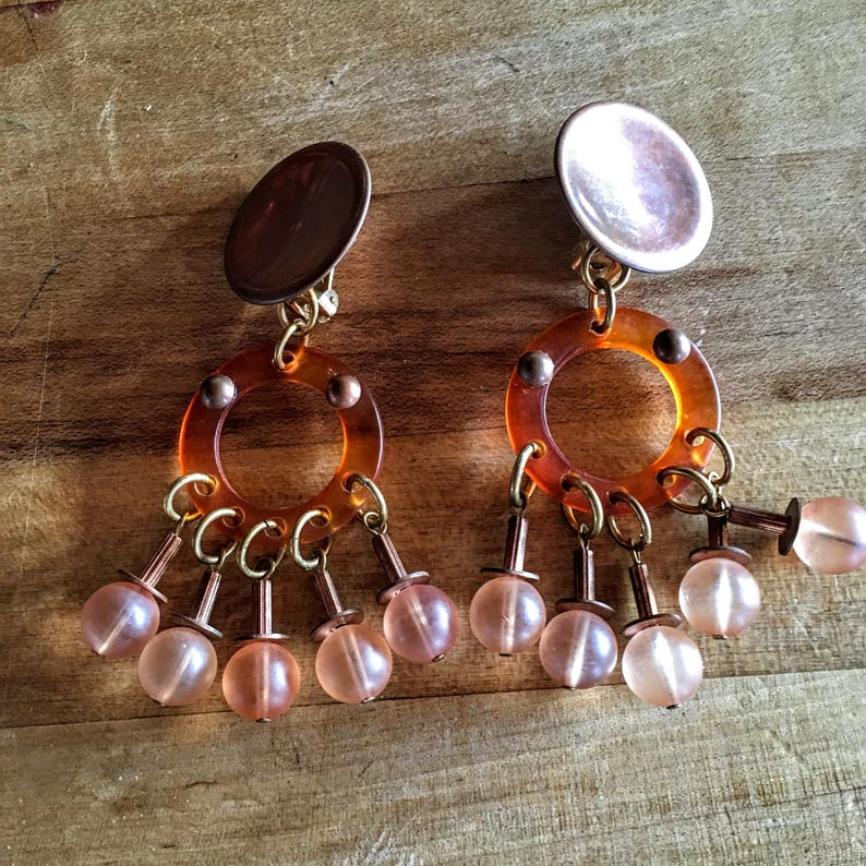 Vintage Lucite Plastic Clip Earrings Dramatic Copper Boho Style!