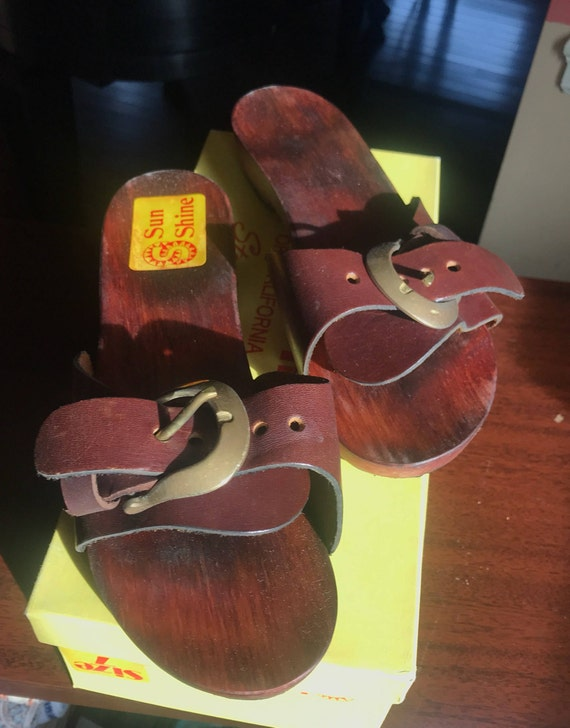 NOS 1970's Clog Sandals / 5 / 7
