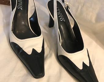 Womens high heeled sling-back wing tips, sz 6.5, very lightly worn