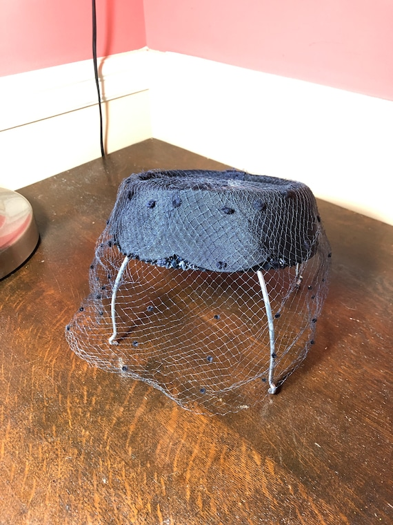 1940's Navy Blue Pillbox and Mesh Hat